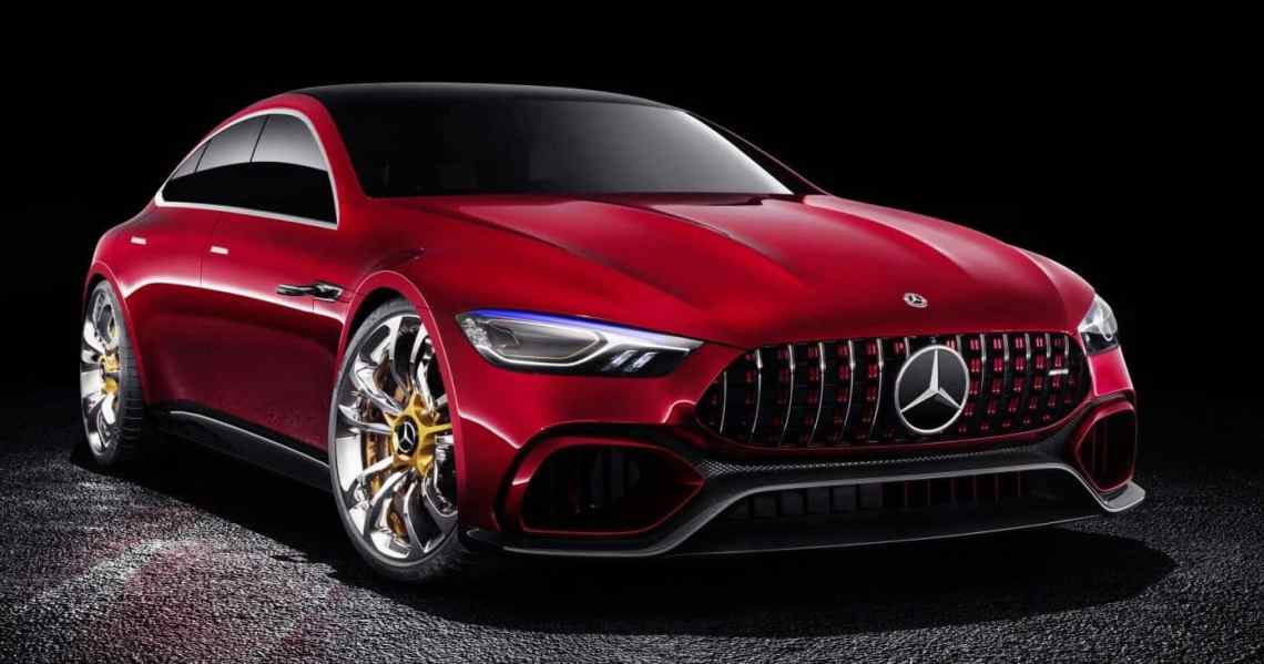 Front-view of Mercedes-Benz AMG GT concept car that is being shown in Geneva