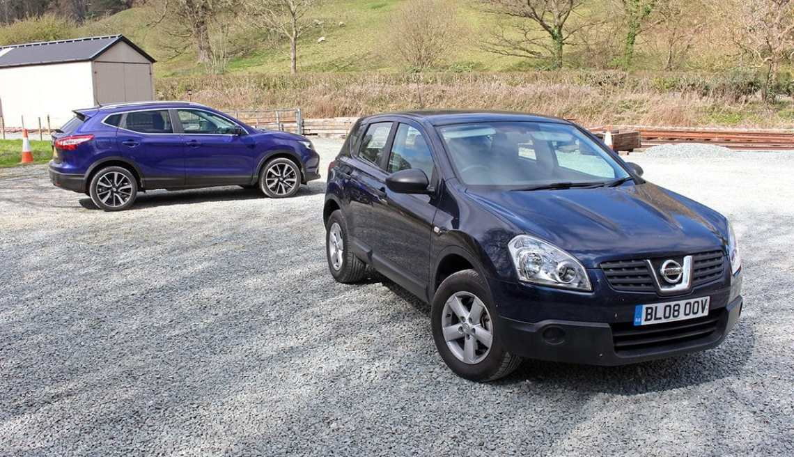 2008 Nissan Qashqai, with 2017 model in the background
