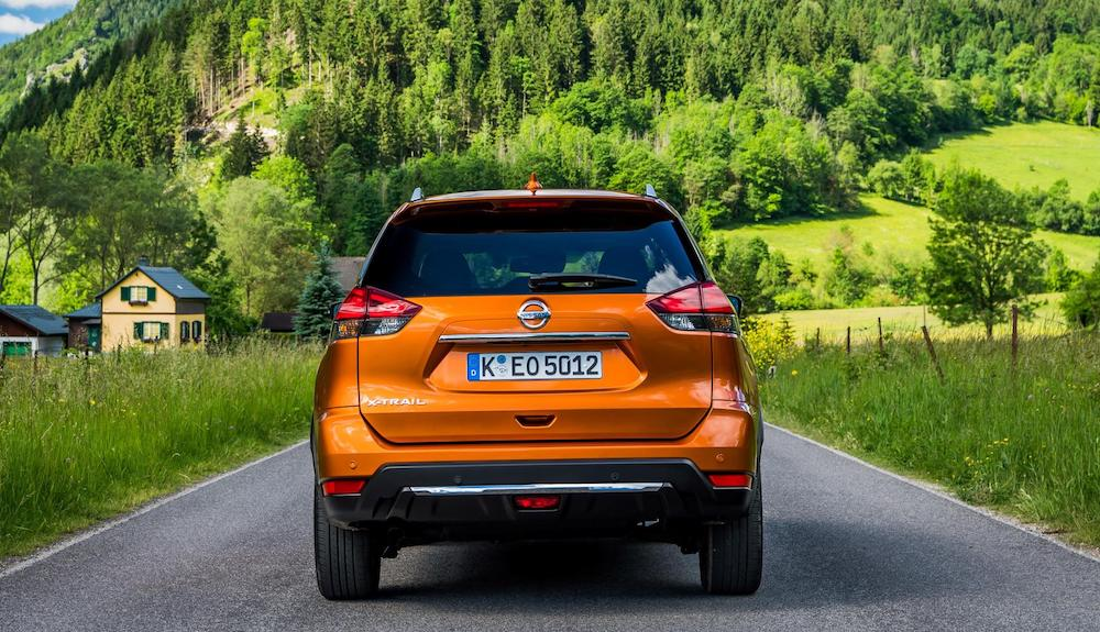 Rear view of updated Nissan X-Trail in Monarch Orange