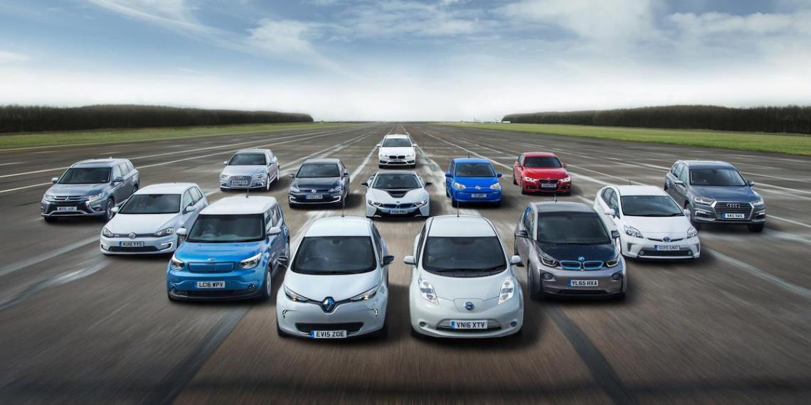 A selection of electric and plug-in hybrid cars now on sale in the UK