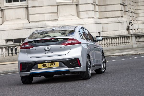 Hyundai Ioniq on road rear