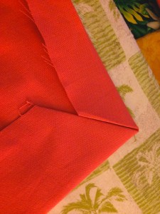 first fold of bottom and side hem