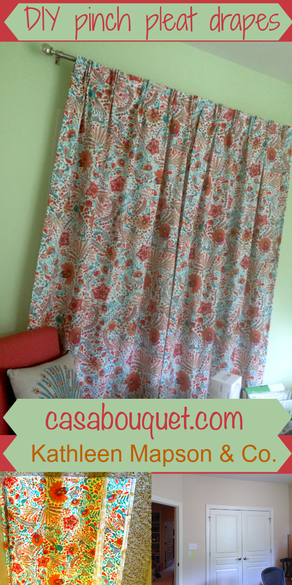 """Drapes give softness and allow more room in the office. If you have a sewing machine and would like to try making fabric items for your home, check out my """"Home-making""""posts."""