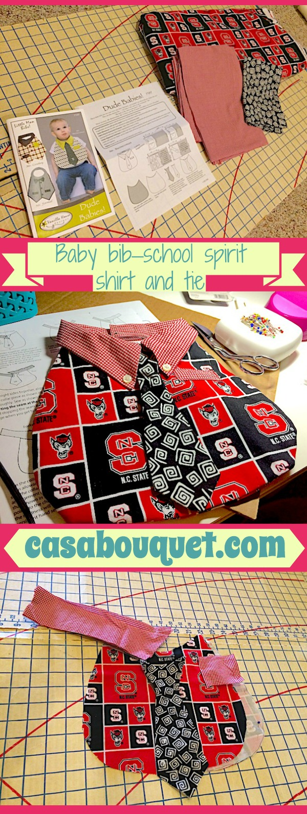 Sewing a school spirit baby bib is a quick diy project that dresses up baby while keeping mealtime neater. Baby bib with necktie uses 3 fabric colors.