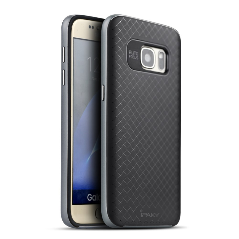 quality design 052be fd7a0 iPAKY Hybrid Case For Galaxy S7 Edge Grey