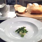 Arrange potatoes & asparagus in bowls