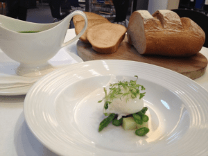 Liam Finnegan's Wild Garlic, Asparagus and Potato Soup with Poached Pullet Egg