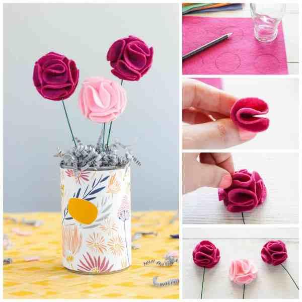 Flores de feltro e buquê de tecidos de TheCasualCraftlete.com