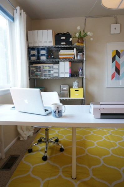 Mid Century Modern Office Grey and Yellow - 11