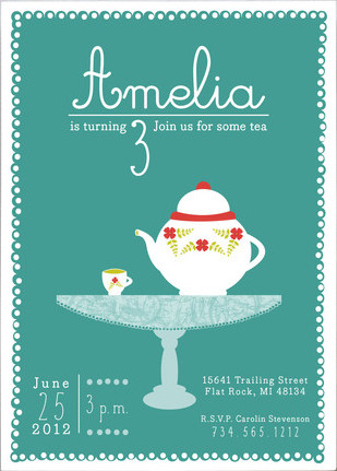 Minted Tea Party Kids Birthday Party Invitation