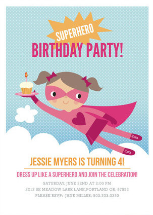 Minted Girls Superhero Kids Birthday Party Invitation