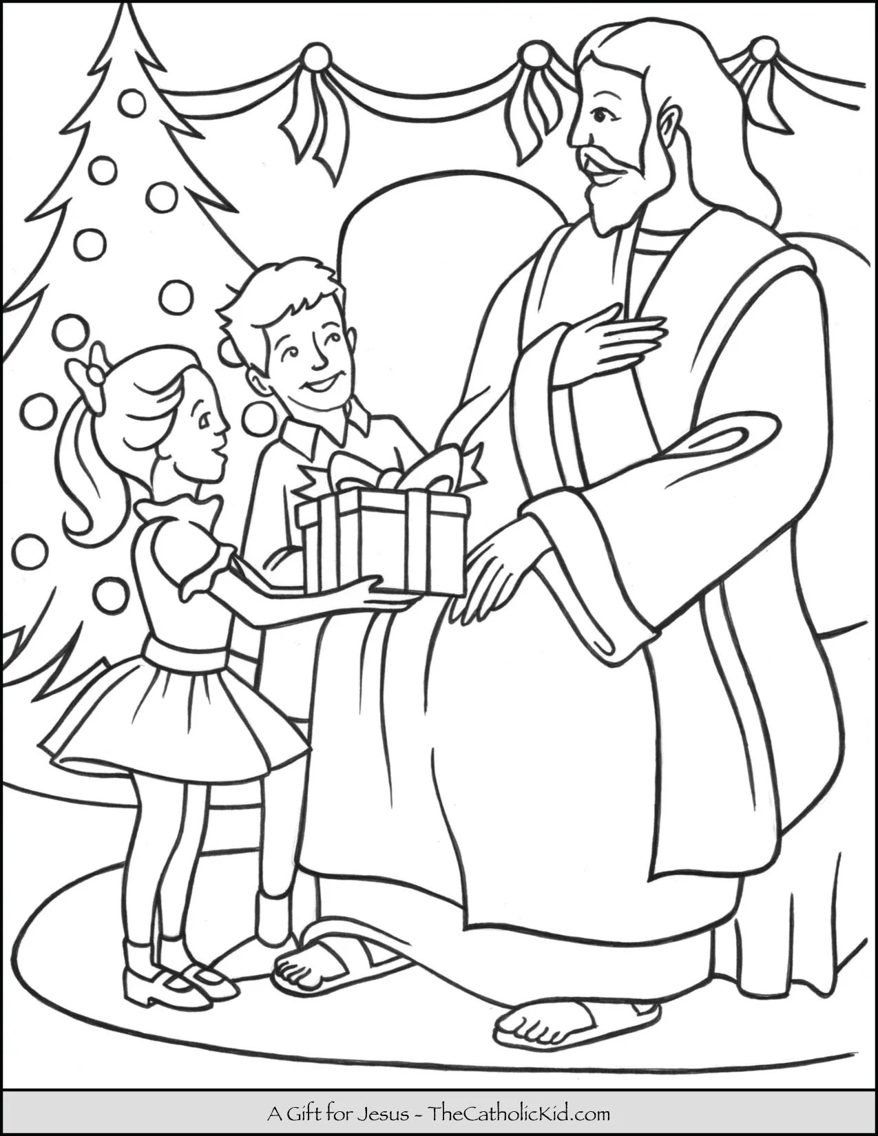 A T For Jesus Christmas Coloring Page