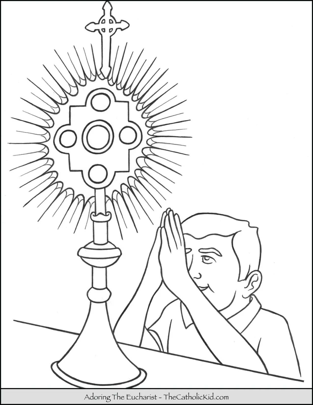 Child Adoring The Holy Eucharist Coloring Page