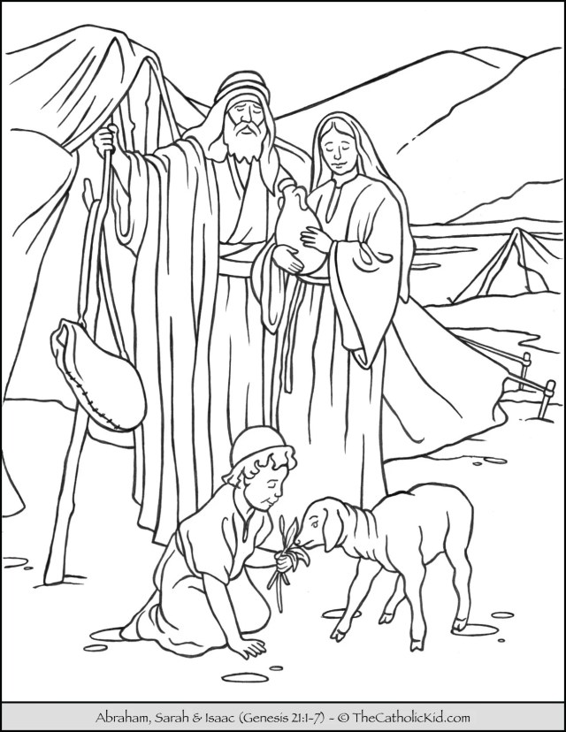 Abraham, Sarah, and Isaac Coloring Page - TheCatholicKid.com