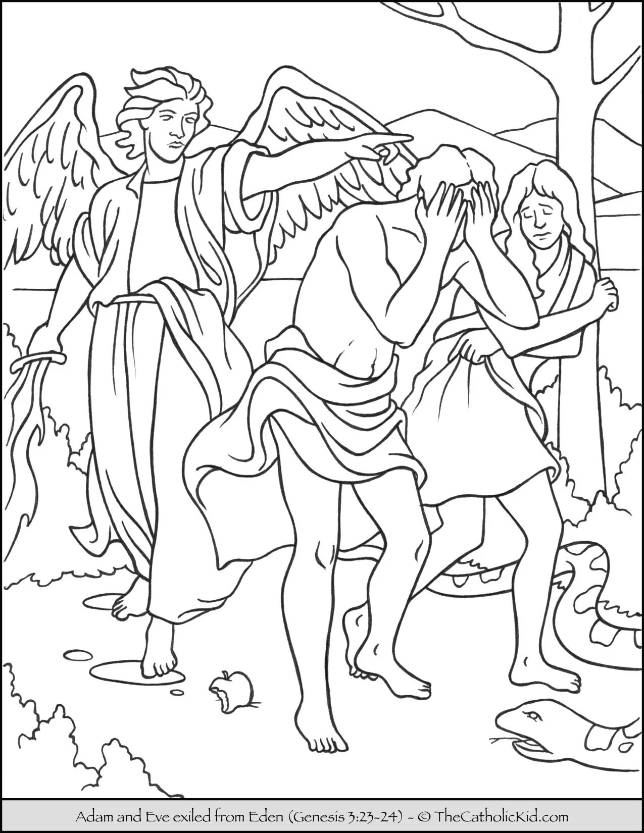Bible Coloring Page Adam And Eve Exiled From Eden Thecatholickid Com