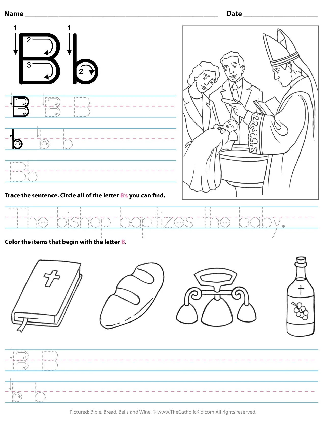 Catholic Alphabet Letter B Worksheet Preschool