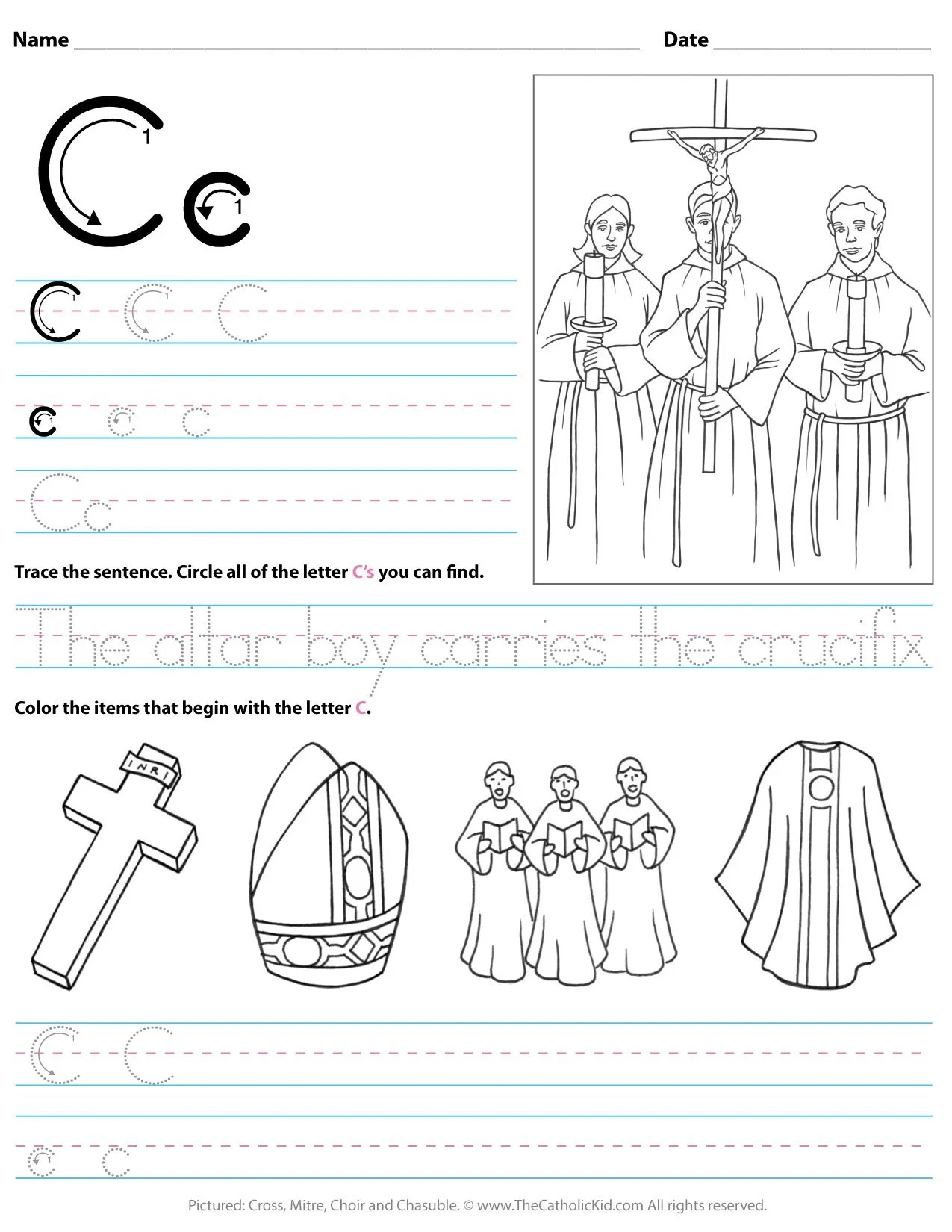 Catholic Alphabet Letter C Worksheet Preschool