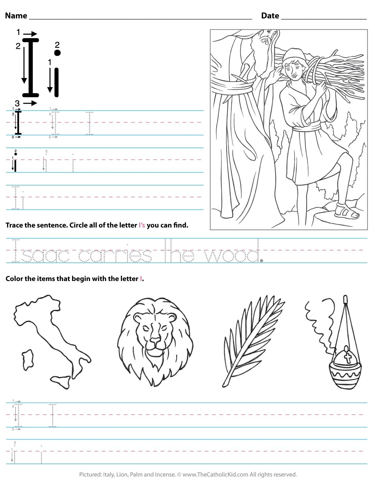 Catholic Alphabet Letter I Worksheet Preschool