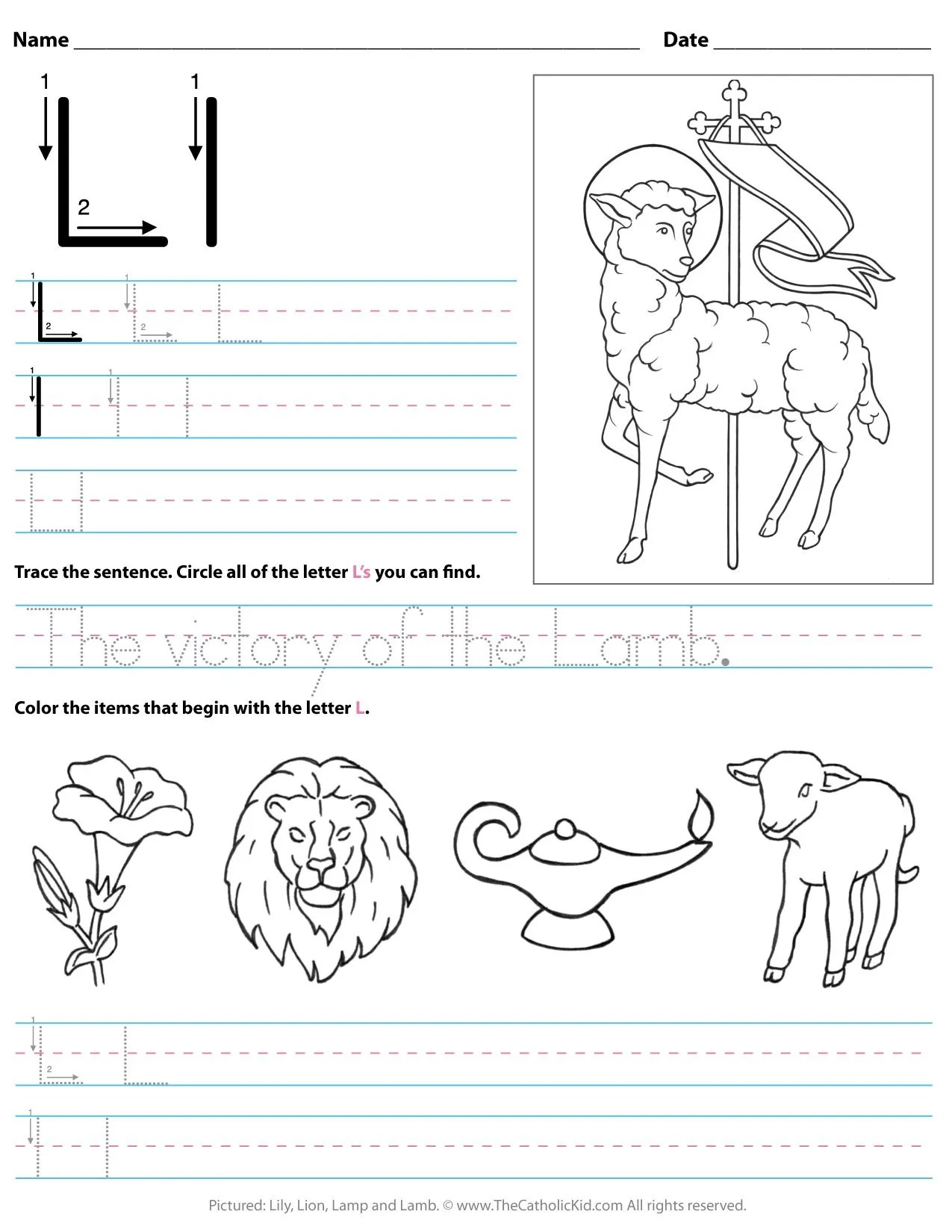Catholic Alphabet Letter L Worksheet Preschool