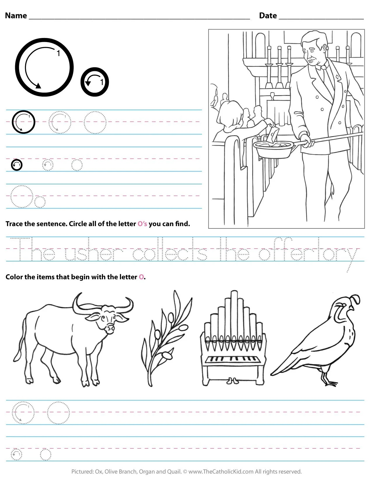 Catholic Alphabet Letter O Worksheet Preschool Kindergarten