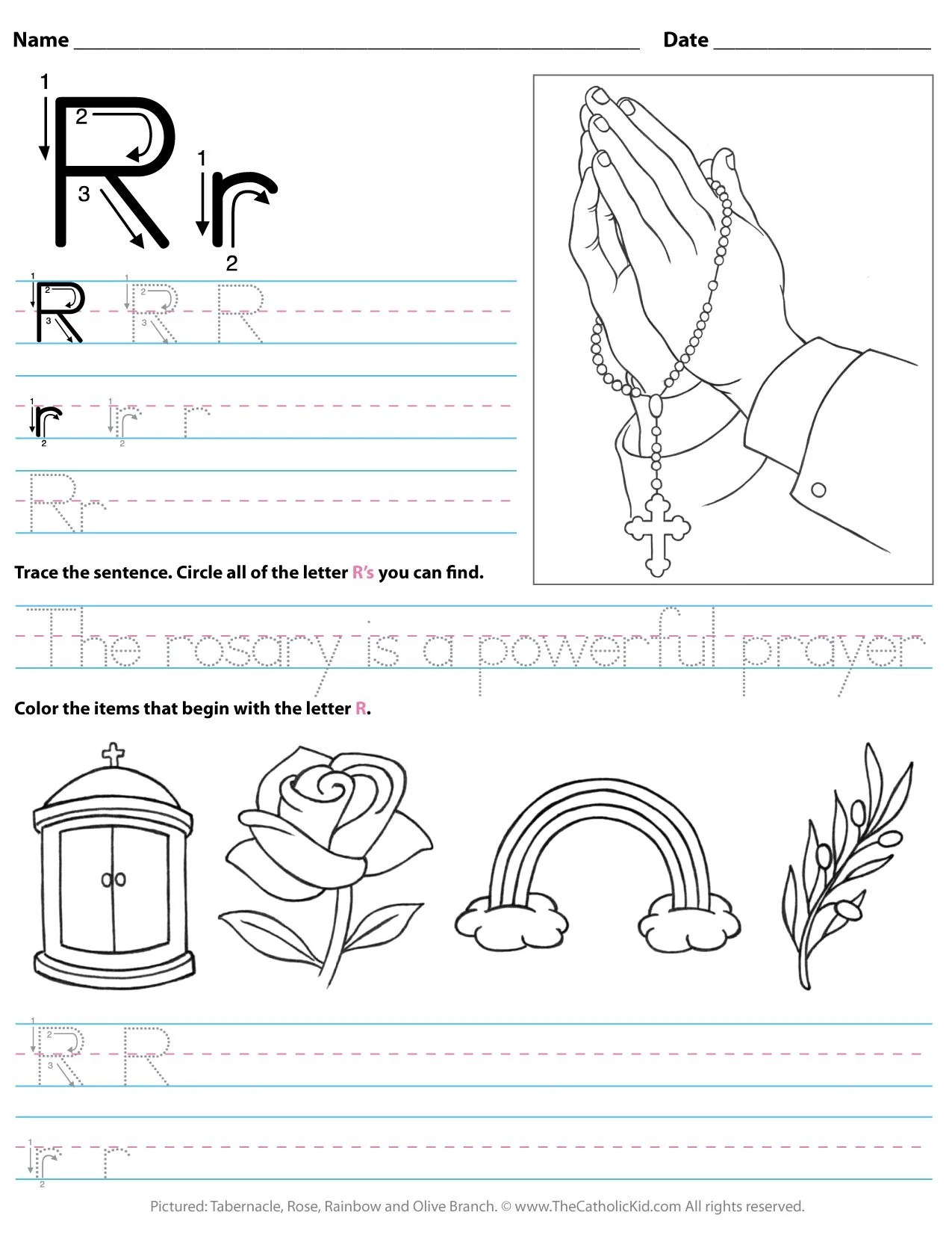 Catholic Alphabet Letter R Worksheet Preschool