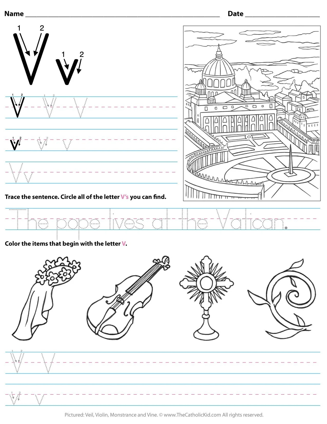 Catholic Alphabet Letter V Worksheet Preschool