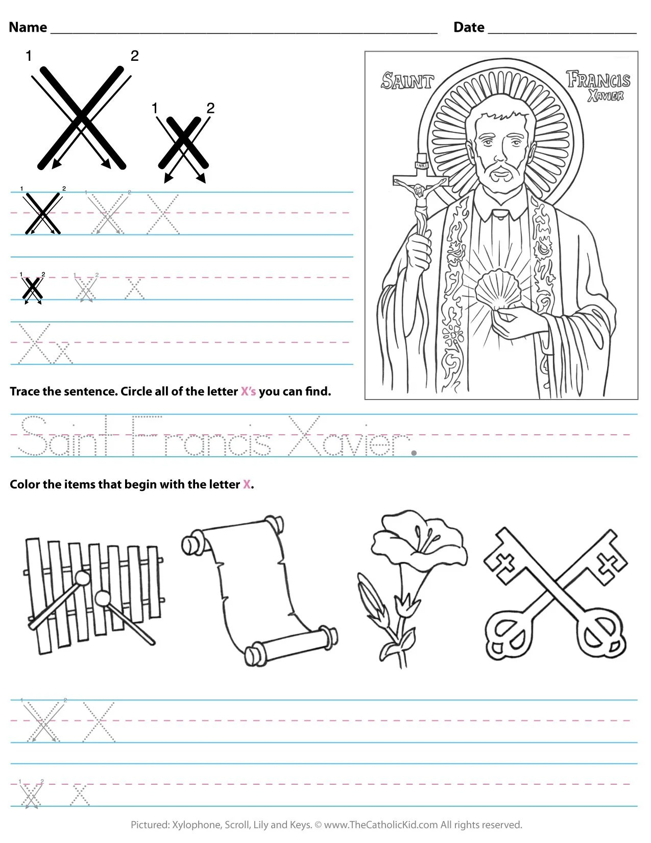 Catholic Alphabet Letter X Worksheet Preschool