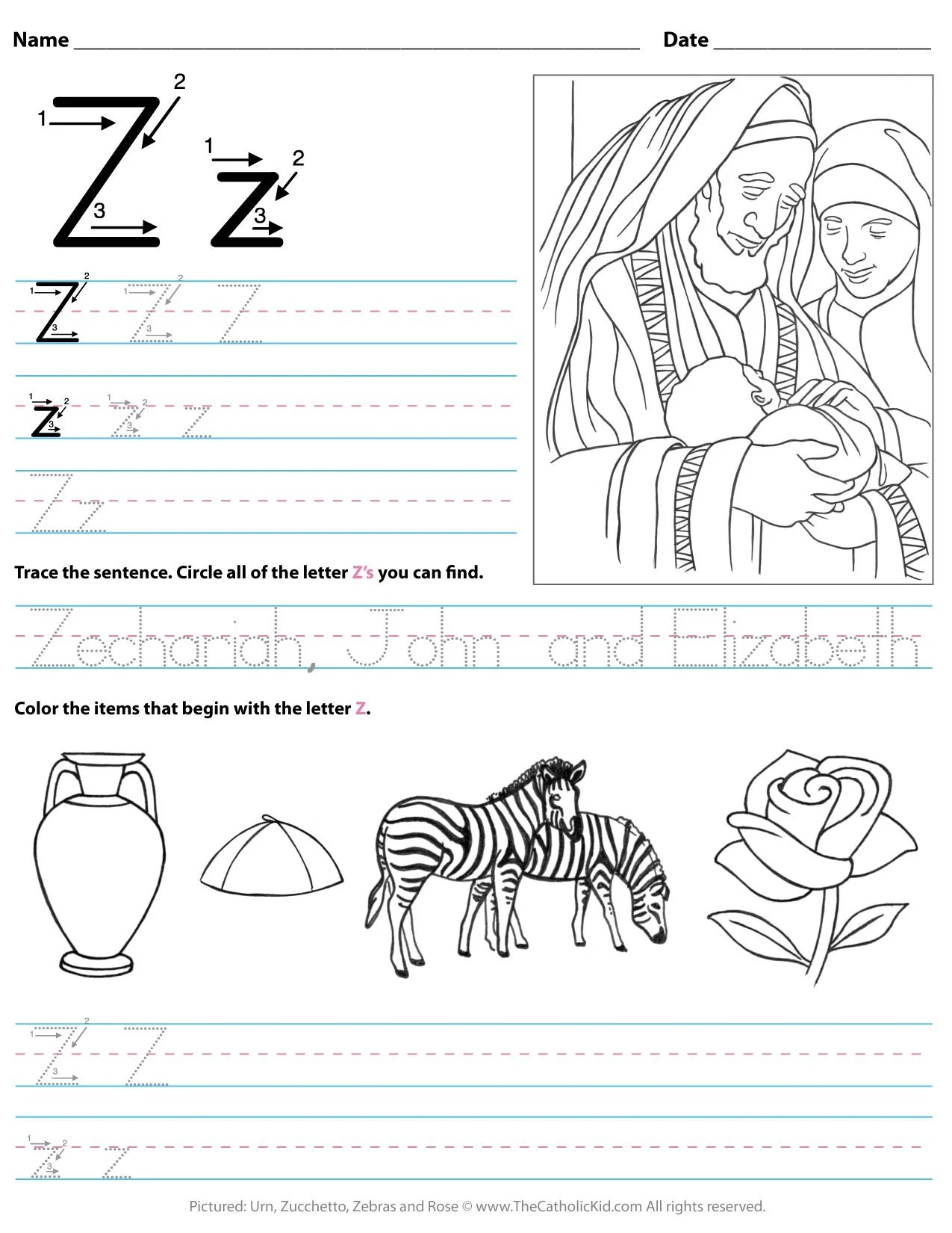 Catholic Alphabet Letter Z Worksheet Preschool