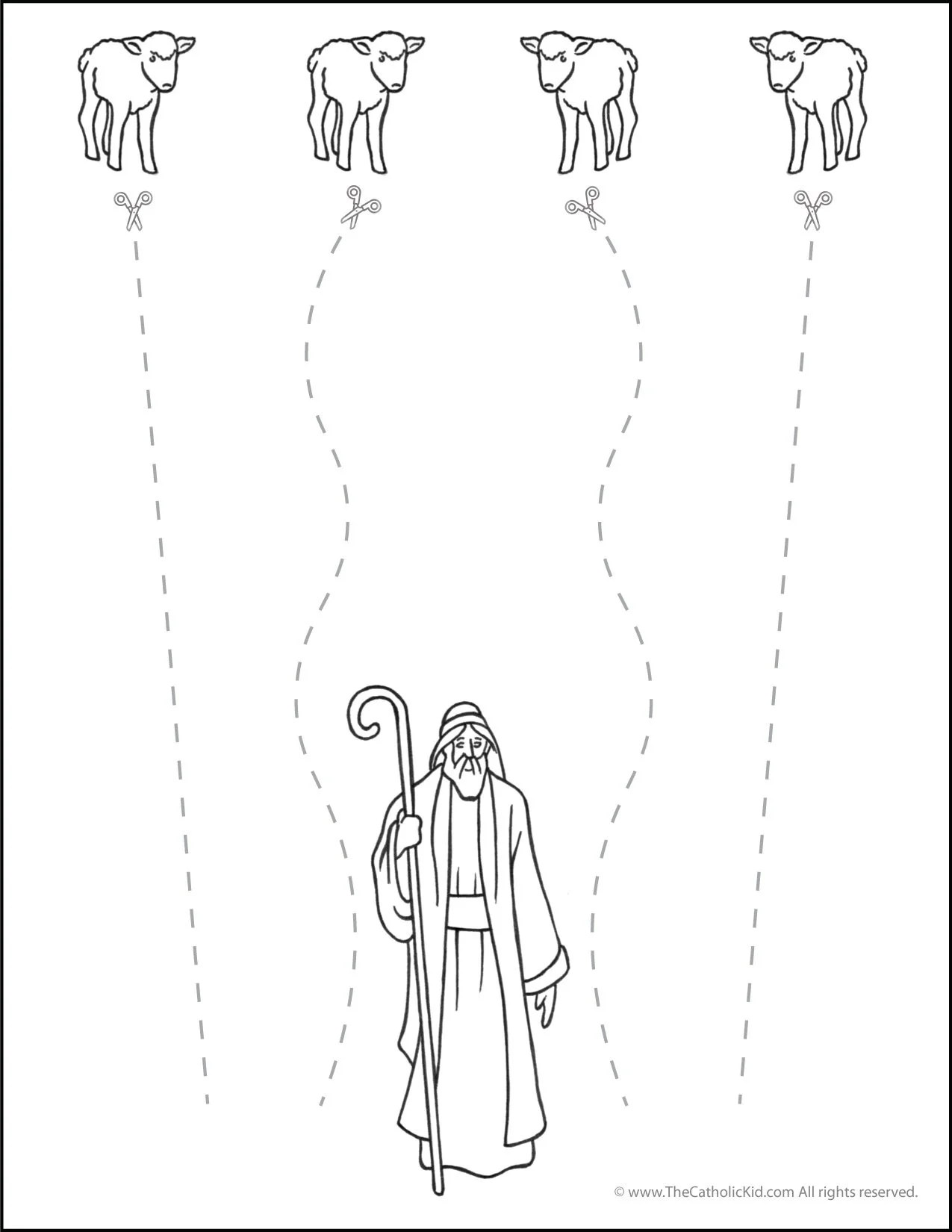 Catholic Scissor Line Cutting Worksheet