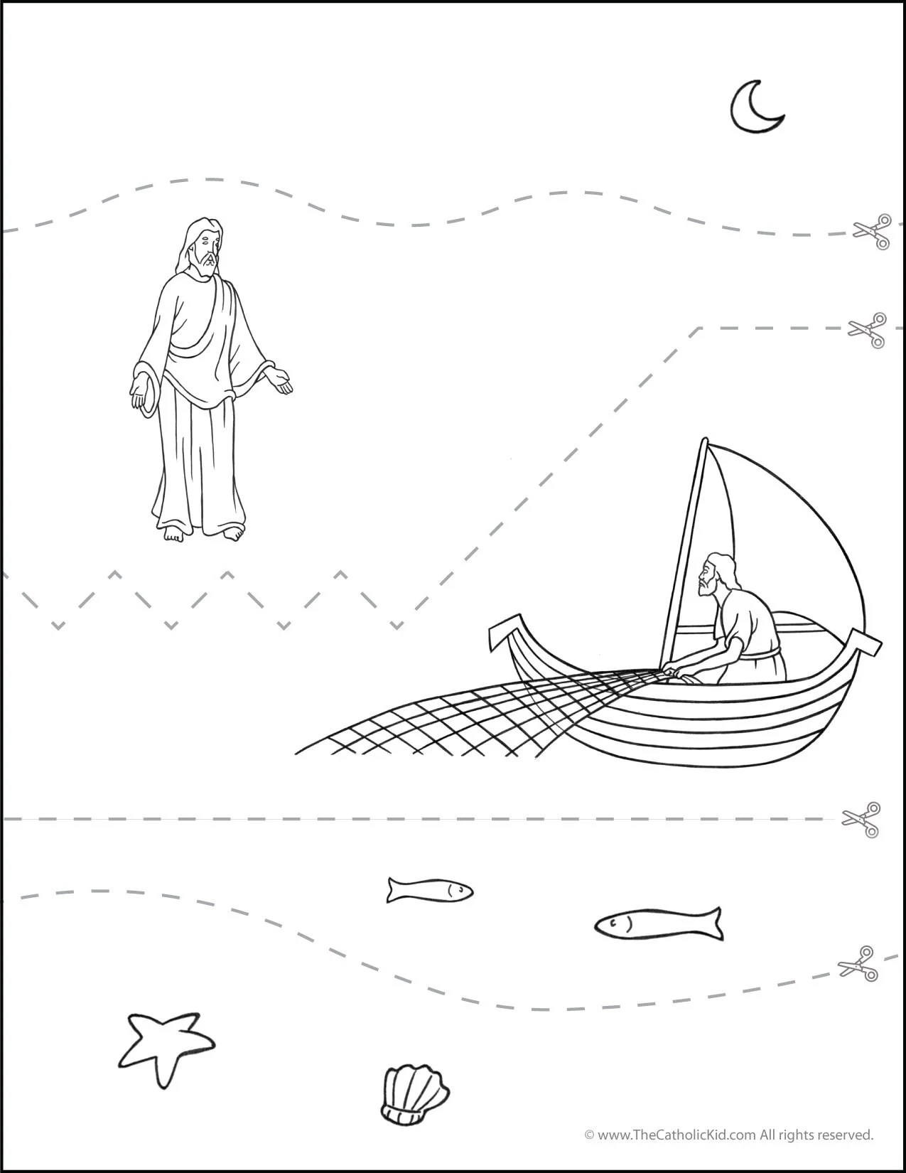 Catholic Practice Cutting Worksheet Sea Of Galilee