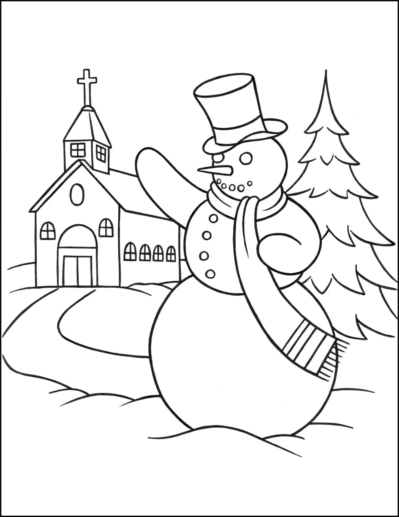 Christmas Coloring Page Snowman