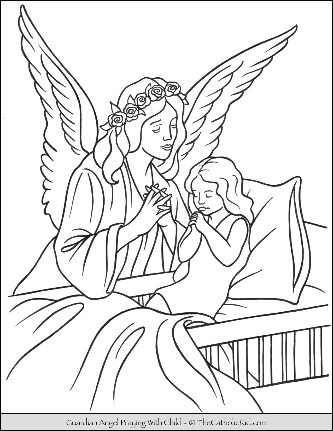 Guardian Angel And Child Praying At Bedtime Coloring Page