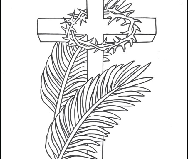 Lent Coloring Page Cross Palms Crown Of Thorns Thecatholickid Com