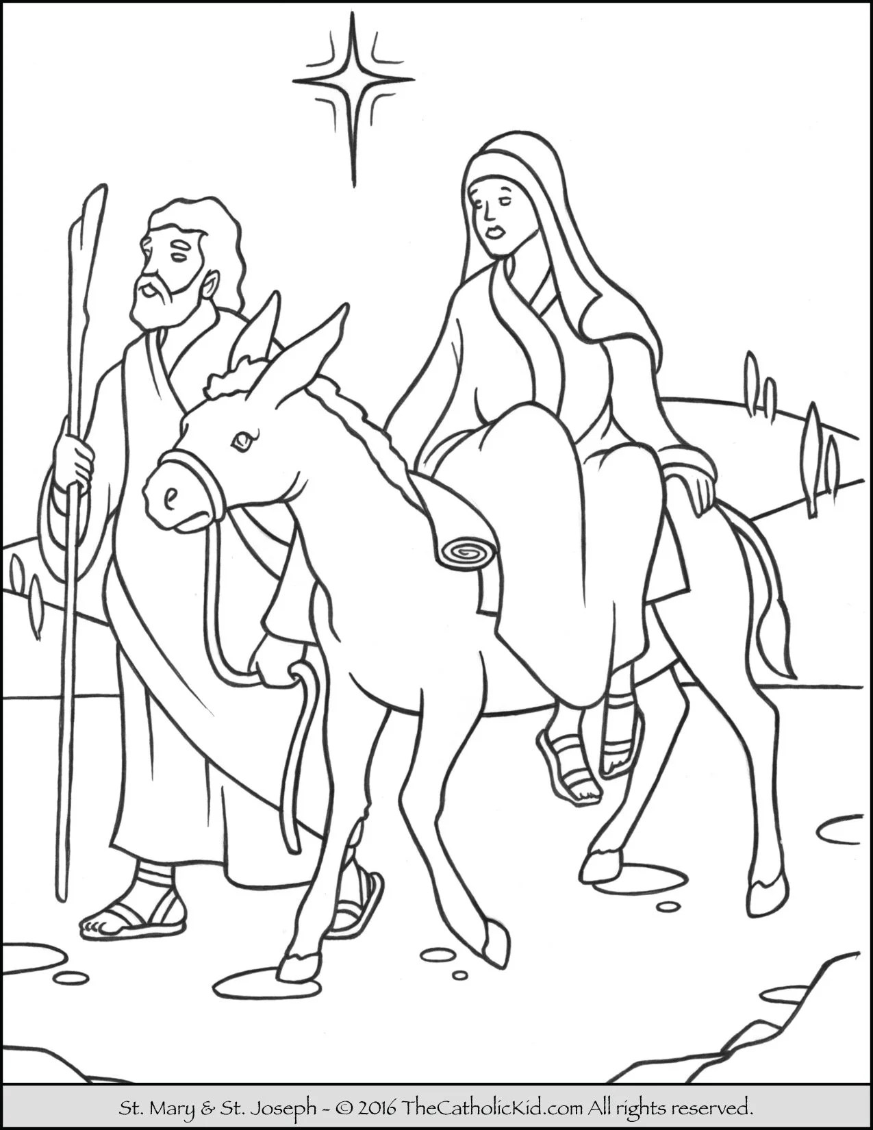 Mary And Joseph Donkey Coloring Page