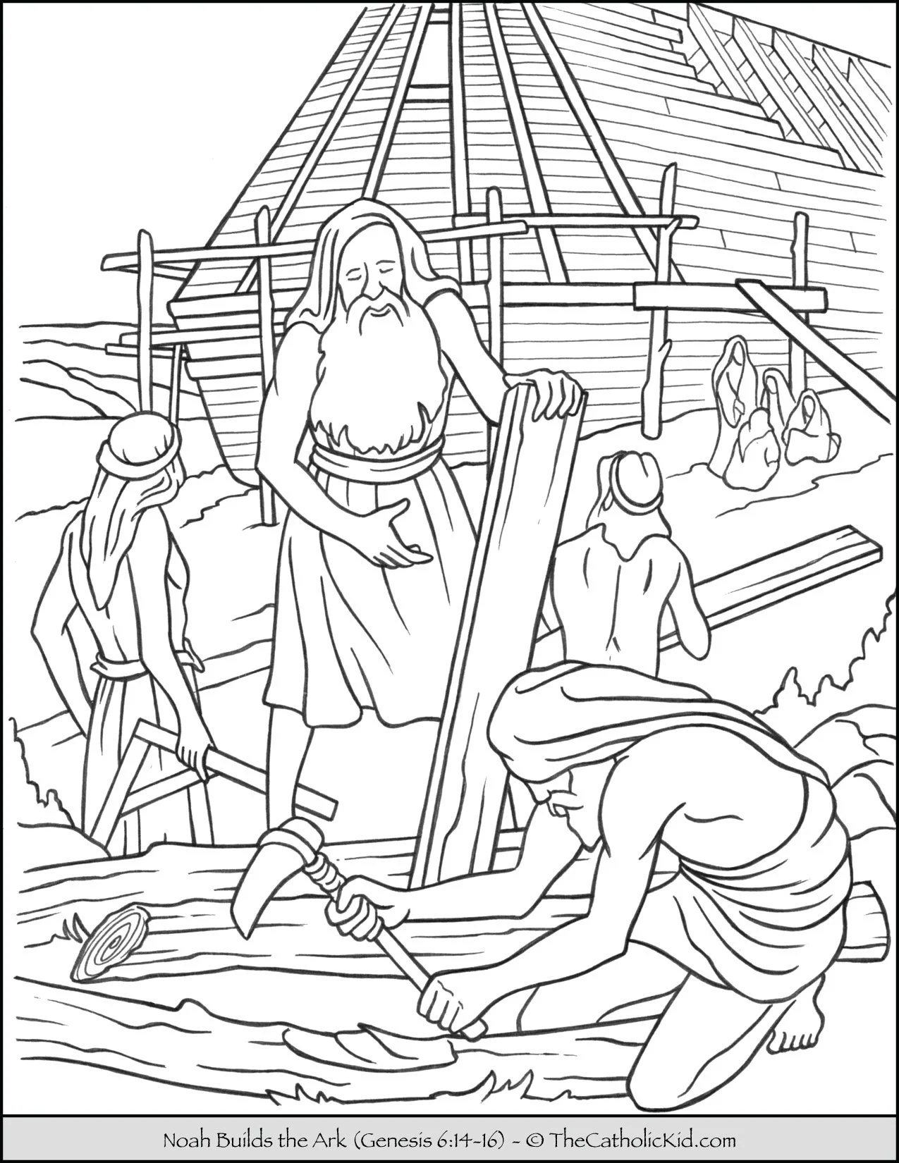 Noah Building The Ark Coloring Page Thecatholickid Com