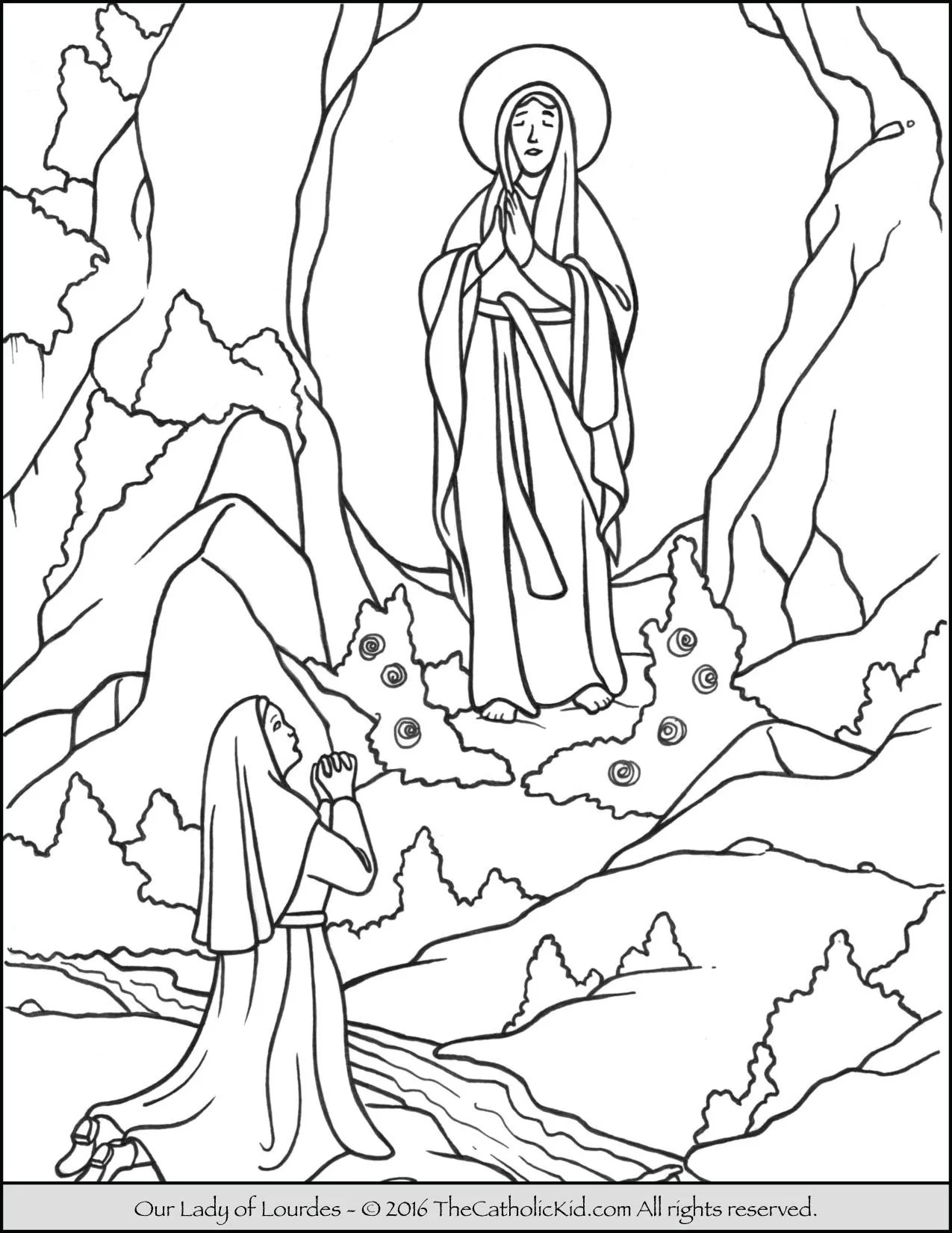 Our Lady Of Lourdes Coloring Page