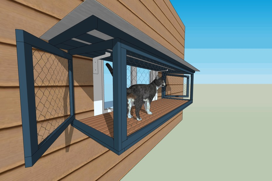 design of cat window box catio with cat topia