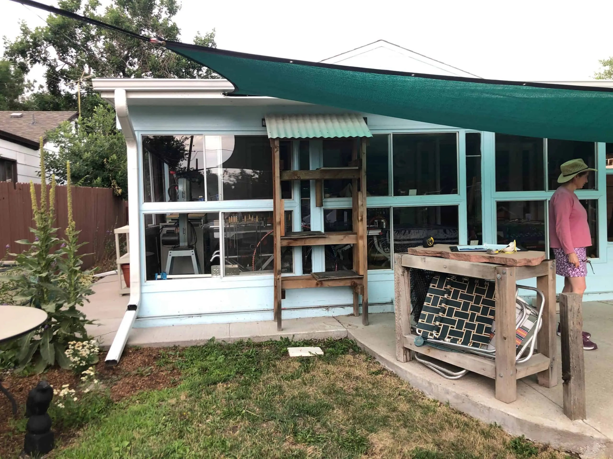 before photo of boulder catio