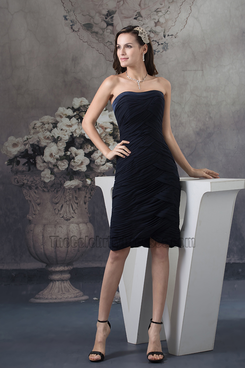 Black Strapless Knee Length Cocktail Graduation Party