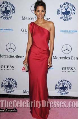 Halle Berry Red One Shoulder Prom Dress 32nd Anniversary