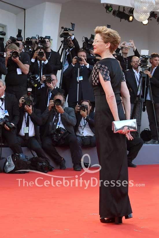 Annette Bening Black Short Embellished Sleeves Sheath
