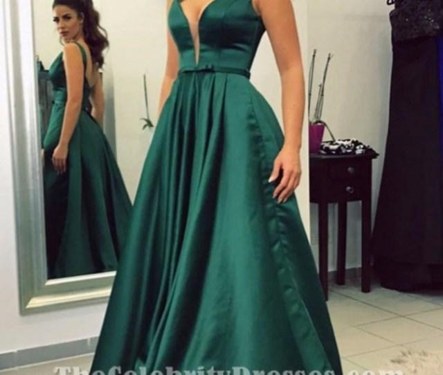 Elegant A Line Emerald Green Prom Dress Formal Evening Gown