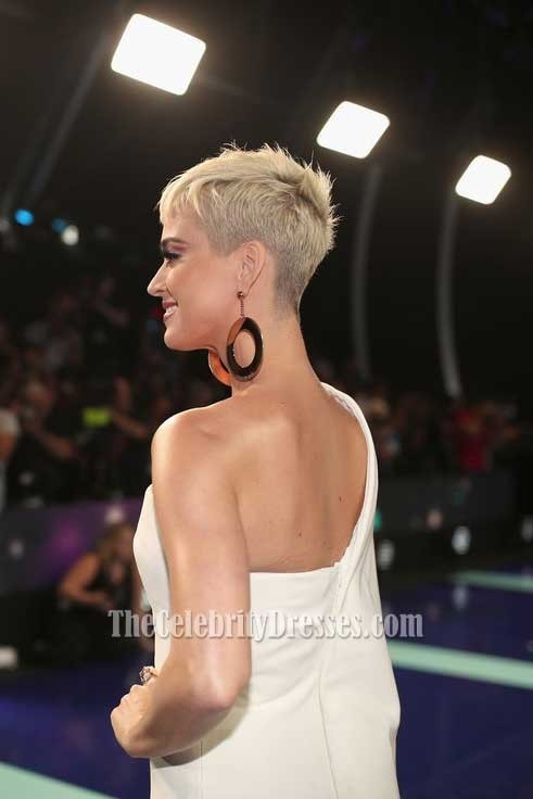 Katy Perry Ivory One Shoulder Structured Evening Prom