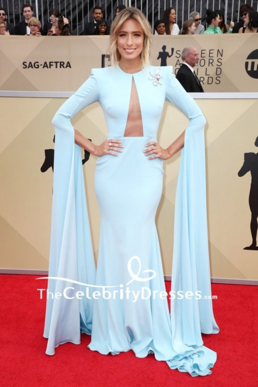 9795cf7ad Greta Gerwig Ivory V Neck Ruffle Long Dress 2018 Critics Choice Awards Red.  Renee Bargh Light Sky Blue Cut Out Evening Mermaid Dress With Long