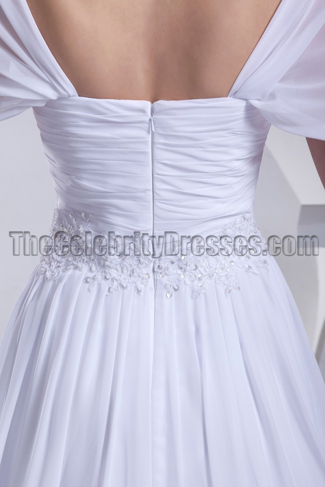 White Off The Shoulder Chiffon Prom Gown Evening Dresses