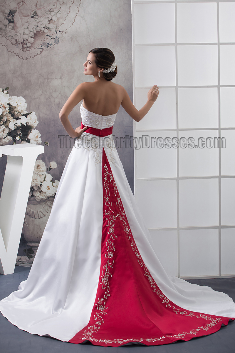Strapless Embroidered A Line Chapel Train White And