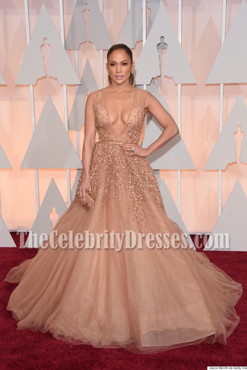 Jennifer Lopez Deep V Neck Beading Ball Gown Oscars 2015