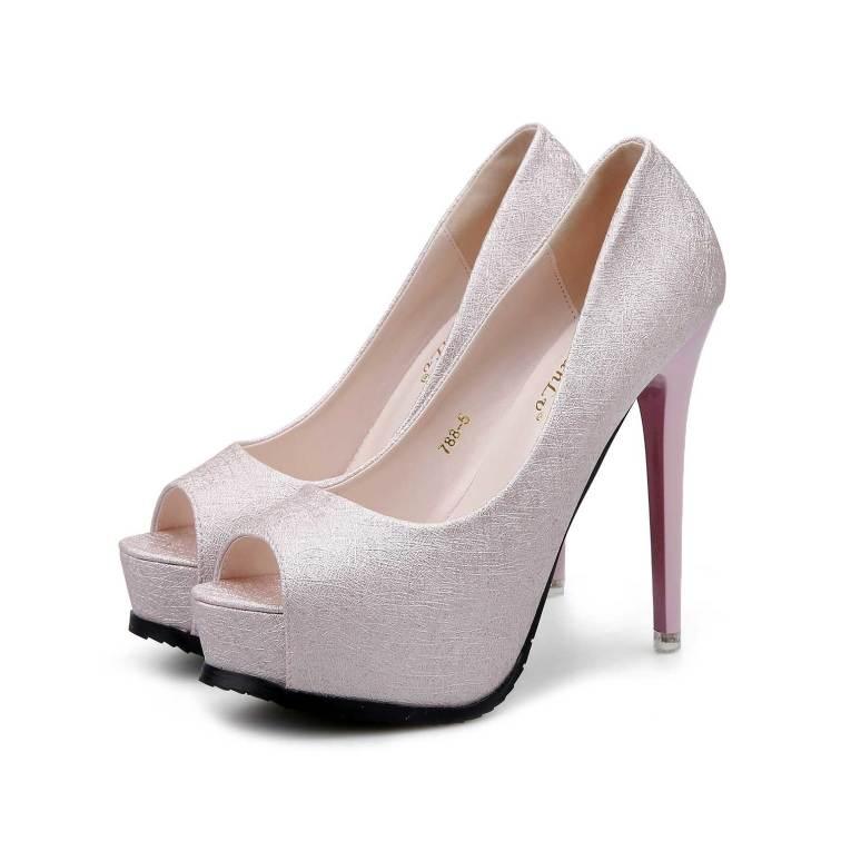 1bb24c79561c1e Silver Platform Peep Toe Fish Mouse Prom Shoes Stiletto Heels