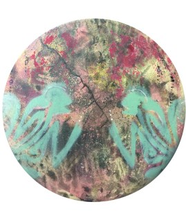 """12"""" Round Mixed media on canvas Available at the Greensburg Garden and Civic Center"""