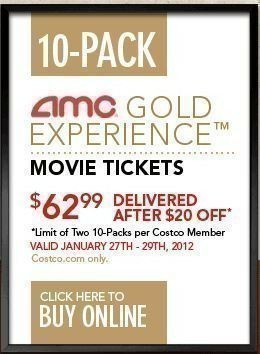 Heres An Awesome Deal Bound To Be Popular With The Movie Lovers Costco Is Offering A 10 Pk Of AMC Gold Tickets For 6299 From 01 27 29